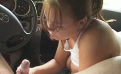 Busty Babe Handjobs Inside The Car