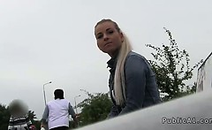 Bent over blonde fucked in public