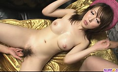 Stunning and horny Asian babe playing with cock and screwed