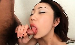 Dirty japanese slut blowing hairy pecker with lust