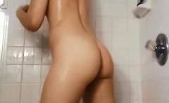 Teen Brunette With A Shower Glove Fetish