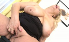 Old mature with big boobs plays with herself in livingroom