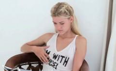 Beauty girl examines her small tits in solo masturbation