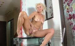Callidica masturbating on the glass table