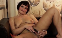 Hot busty housewife stretches