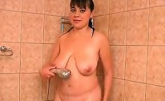 Fat Cutie With Saggy Breasts Showering