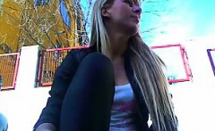 Cute Girlfriend Rips Pants and Masturbates outdoors