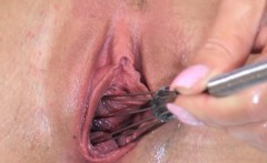 Gaping and gyno dildoing her graceful hole