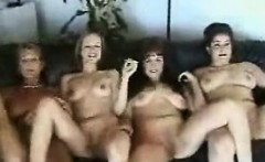 Two sexual girls masturbate by hands and big sex-toy