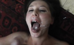 Busty MILF gives BJ, fucks hardcore and gets facial