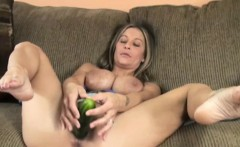 Leeanna Heart masturbates with a cucumber