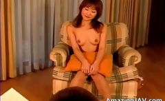 Cute asian redhead in horny threesome