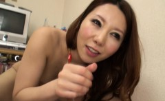 Asian brunette rides a hard cock and she cums strong