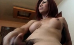Shemale Makes her cock hard and ejaculates