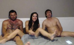 Naughty brunette teases these two horny fuckers with her se