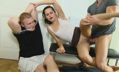 Bound and gagged cuckold watches his gal take another guy's cock in her mouth and cunt