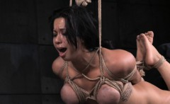 Busty slut roughly punished while tied up