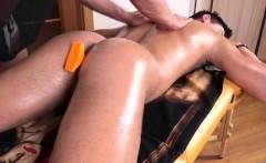 Twink masseur toying jock on table