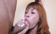 Asian redhead tranny fucks big cock