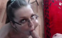 Nerd blonde fucked and facialized