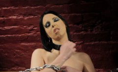 Restrained sub with big tits rides a dildo
