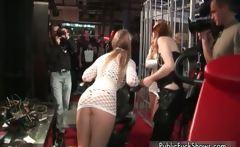 Two hot brunette lesbians get horny