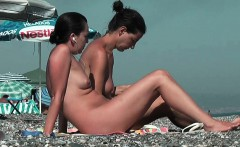 Bitch at the beach getting horny nudist pussy wet