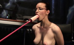 This sexy brunette with glasses and great tits enjoys