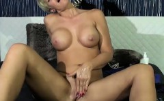 Hot blonde milf mia uses vibrating dildo to masturbate