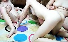 Hot lesbian lingerie threesome fingering wet pussy