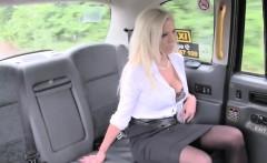 Blonde cutie Barbie Sins blows a huge cock in the taxi