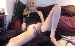 Mature blonde toying