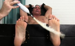 Mature guy Sebastian immobilized and tickled with feathers