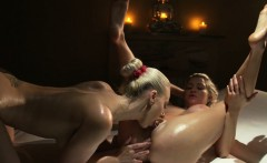slim busty lesbian masseuse fingers babe