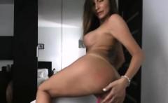 Amateur big tits and big ass MILF sucked dildo