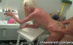 Lucky peeping tom caught a blonde gf fucking with her lover