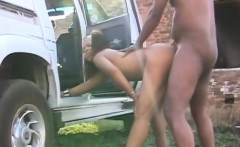 Ebony couple fucking outdoors at back of the truck