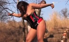 Naughty dude spanking babe outdoors