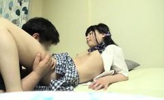 Shy asian teen strips out of her school uniform