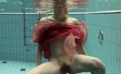 Katya Okuneva in red dress pool girl