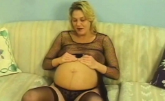 Mature pregnant turns cowgirl