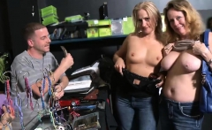 Two sexy milfs convinced to flashed boobies for money