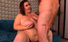 Horny Fat MILF Plays with Herself and Fucks a Guy