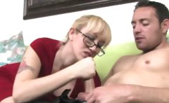 Milf in spex tugs cock for lucky guy and wants his cum