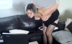 Mature with big boobs tugs his hard cock