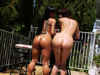 Kinky lesbians fill up their massive asses with milk and eja