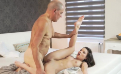 Multiple blowjobs and brunette fucks grandpa Her Wet Dream