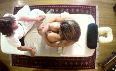 Cute amateur babe massaged and drilled