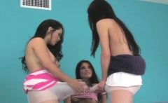Naughty teenies nail the biggest strapon dildos and spray sp
