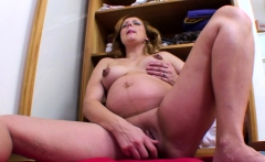 Beautiful Pregnant Angel Drills Herself With A Dildo
